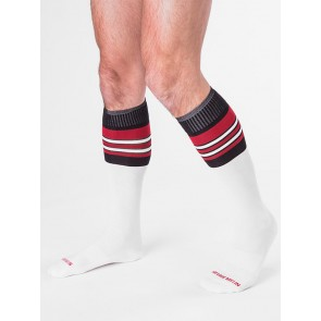 Barcode Berlin Football Socks - White,Black and Red at EagerGear