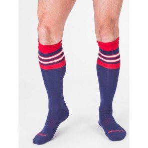 Barcode Berlin Football Socks - Navy and Red at EagerGear
