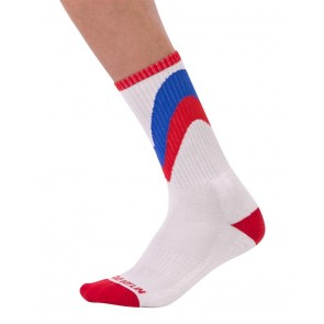 Barcode Berlin Initiale Socks - White, Red and Royal