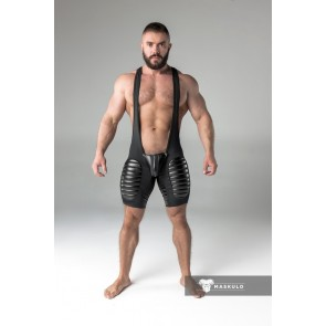 Maskulo Wrestling Singlet with Codpiece/Thigh Pads - Black