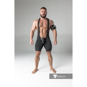 Maskulo Wrestling Singlet with Codpiece - Black