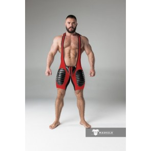 Maskulo Wrestling Singlet with Codpiece/Thigh Pads - Red