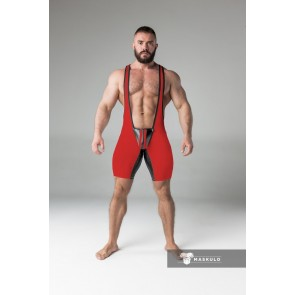 Maskulo Wrestling Singlet with Codpiece - Red