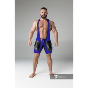 Maskulo Wrestling Singlet with Codpiece/Thigh Pads - Royal